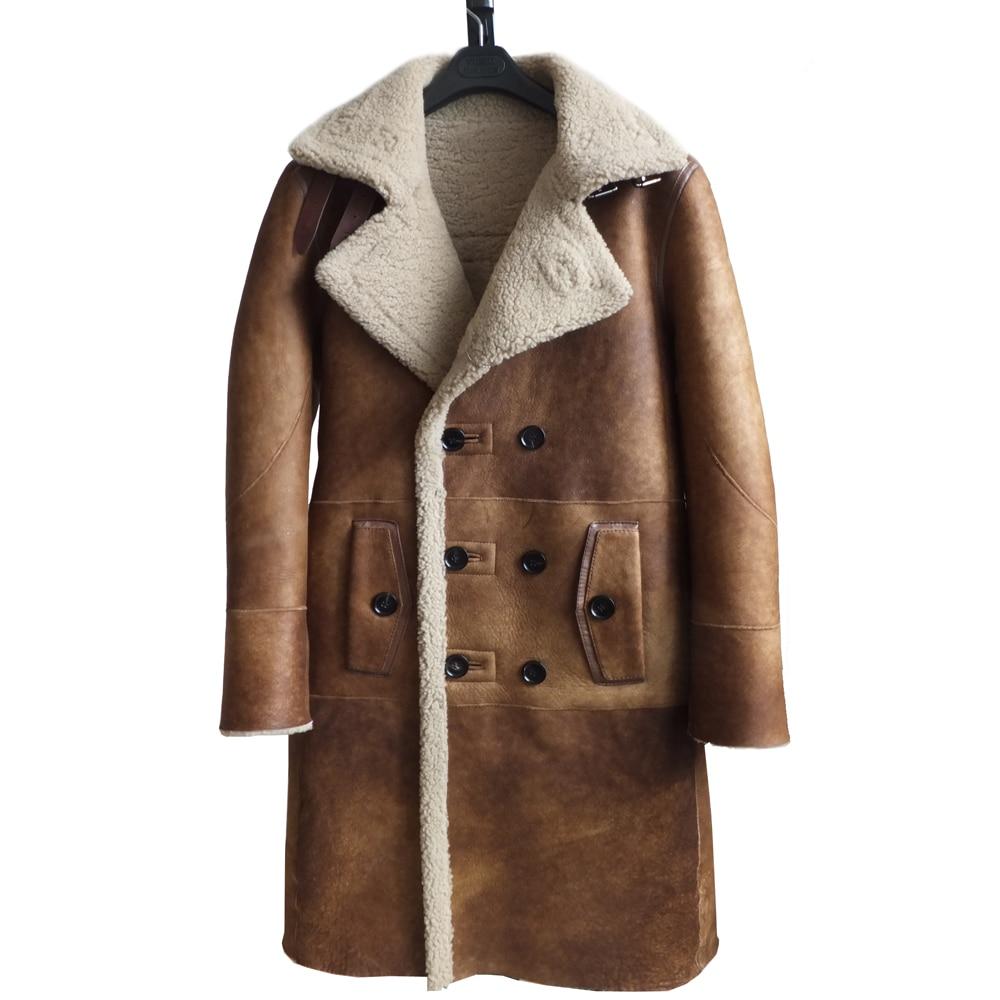 Fashion Real Sheepskin Fur Coat Genuine Leather Male Formal Winter Long Thick Jacket Sheepskin Shearling Men Fur Coffee Coat 4XL