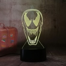 3d Lamp DC Marvel Comics Movie Venom Figure Nightlight for Office Room Decor Color Changing Touch Sensor Led Night Light