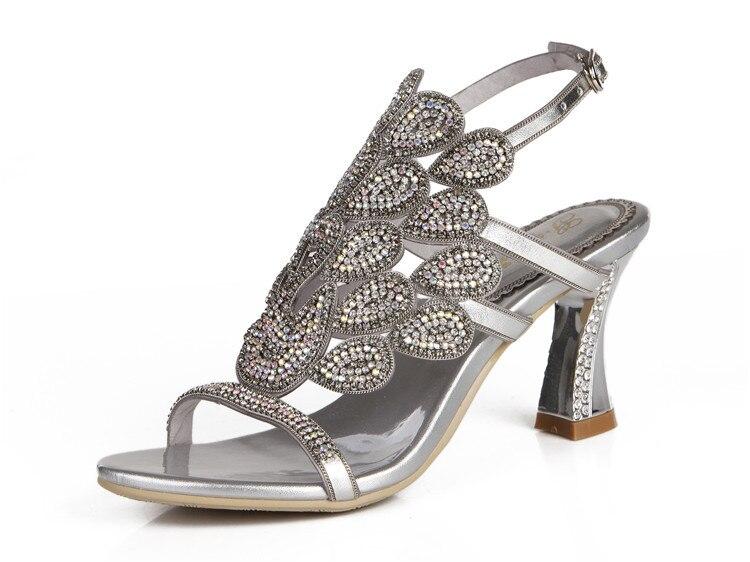 G-sparrow 2018 Summer Korean Rhinestone Slipper Silver Elegant Wedding Shoes Womens Crystal High Heel Sandals13