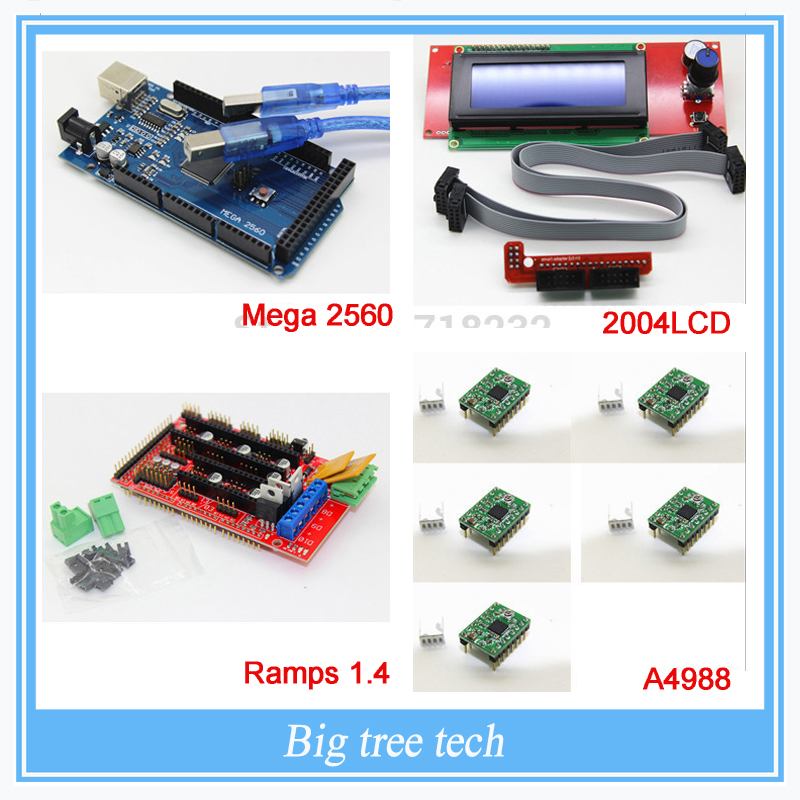 3D Printer kit-1pcs Mega 2560 R3 + 1pcs RAMPS 1.4 Controller + 5pcs A4988 Stepper Driver Module +1pcs 2004 controller, цена и фото