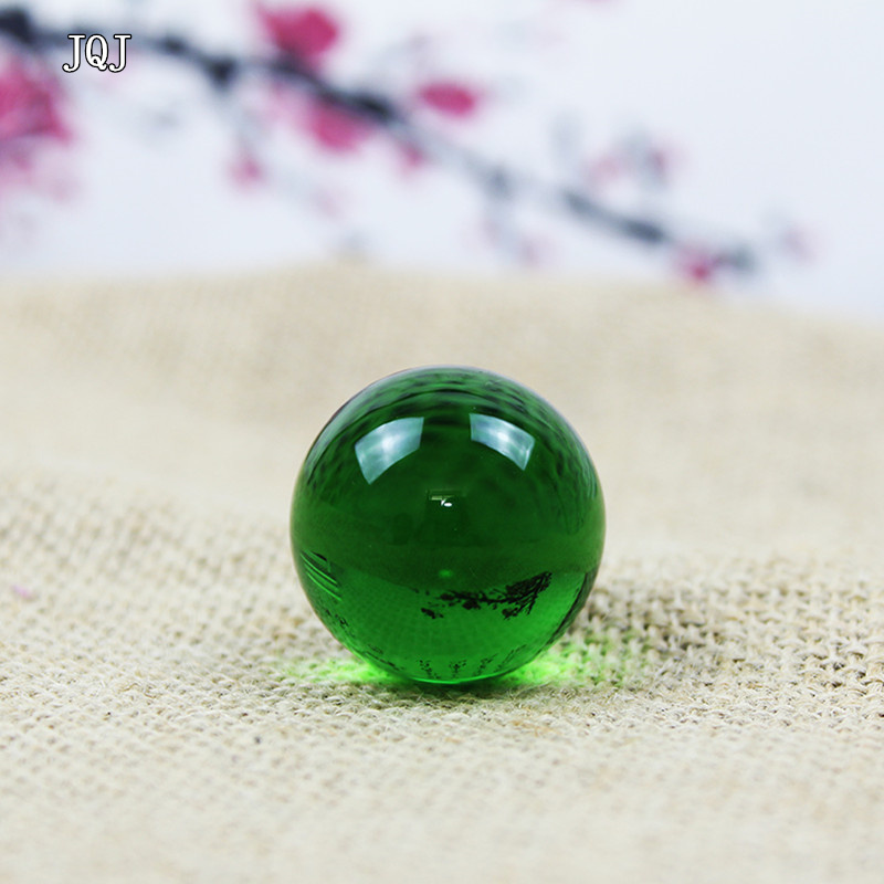 JQJ Crystal Sphere Ball Paperweight 3 cm Green Home Garden Decorative Glass Marbles Balls Feng Shui Child Globe Toy Balls Crafts