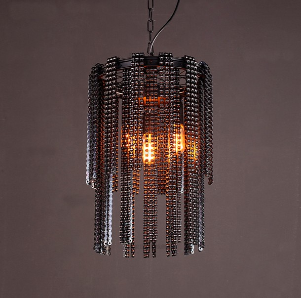 Nordic Industrial Wind Creative Bicycle Chain Droplight Edison Vintage Pendant Light Fixtures For Dining Room Hanging Lamp edison inustrial loft vintage amber glass basin pendant lights lamp for cafe bar hall bedroom club dining room droplight decor