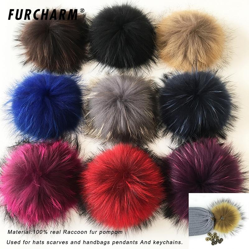 2017 Multicolor 100% Real Raccoon Mink Fox Fur Ball  20cm Fur Pompom Winter big Pom Poms For Shoes Bag Hat  Fur Cap Accessories