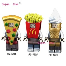 Single pizza ice cream Fries peanut fruit disguised Watermelon Cute Watermelon Peanut figures building block toys for children(China)