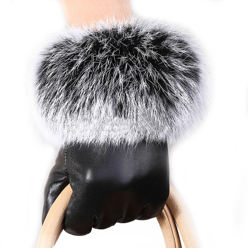 1 Pair High Quality Women Luxurious PU Leather Winter Driving Warm Gloves Rabbit Fur Warm Outdoor Touch Screen Gloves Black 2017