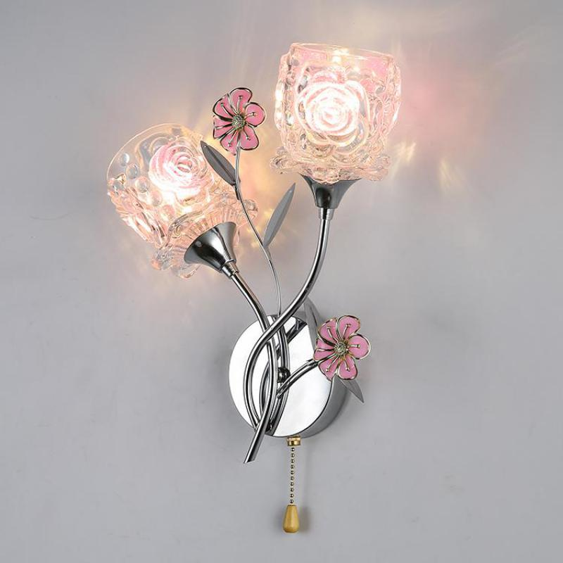 Hallway modern glass flower Wall Light fixtures Bedside Lamp Modern Bedroom mirror Wall Lamp New Aisle Stairs glass Lamps abajur contemporary elegant crystal drops wall light living room bedroom bedside lamp mirror hallway light fixtures wall sconces wl194