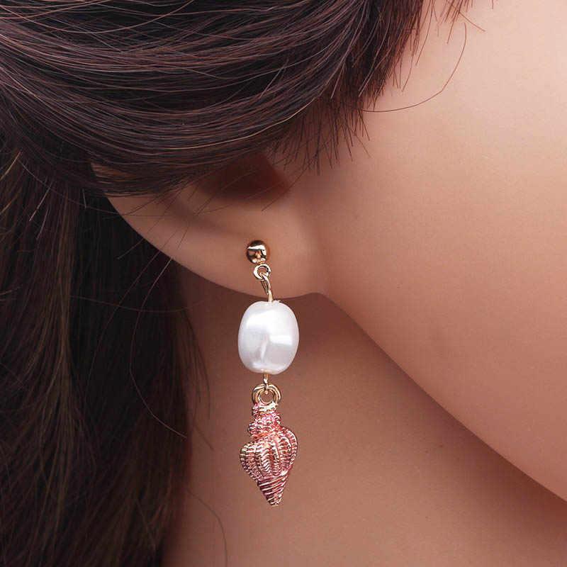 ES693 Korean Style Pearl Conch Drop Earrings Sweet Gold Color Bohemian Summer Conch Earrings For Women New Cute Fashion Jewelry
