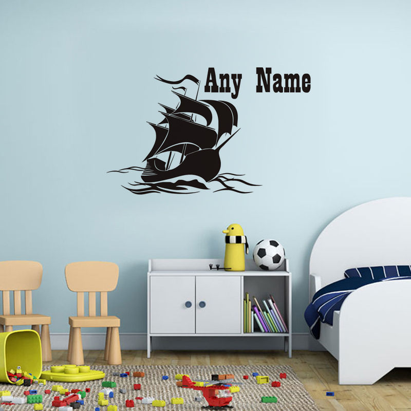 Wall Decal Sailing Boat Personalized Name Kids Bedroom Inter Interior Design Wallpaper Custom Boys Sticker Decor WW 23 In Stickers From Home
