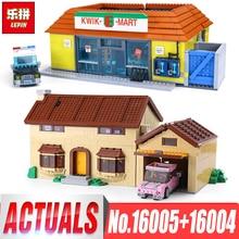 Лепин 16005 Симпсоны дом Лепин 16004 Квик-E-Mart Строительные блоки Кирпич совместимые legoinglys 71016 71006 мальчиков подарки