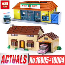 LEPIN 16005 the Simpsons House Lepin 16004 the Kwik-E-Mart Building Blocks Bricks Compatible legoinglys 71016 71006 Boys Gifts(China)
