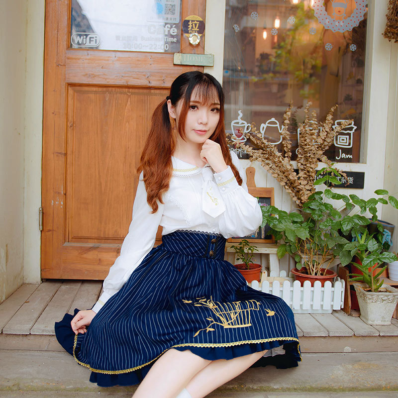 2019 Lolita Blouse Sweet White Long Sleeve Embroidered Women's Shirt - Women's Clothing - Photo 6