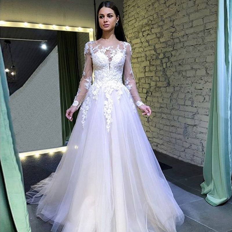 BacklakeGirls 2019 Sexy Tulle Full Sleeves Dress Round Neck Solid Color Wedding Dress Longuette Withe Bridals Wedding Dress