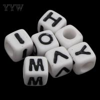 Alphabet Acrylic Beads for making diy Jewelry Bracelet necklace Cube with letter pattern solid color white Approx 3000PCs/Bag