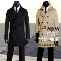Spring And Autumn Men Casual Clothing Medium Long Mens Coat Double Breasted Slim Trench Coat Man