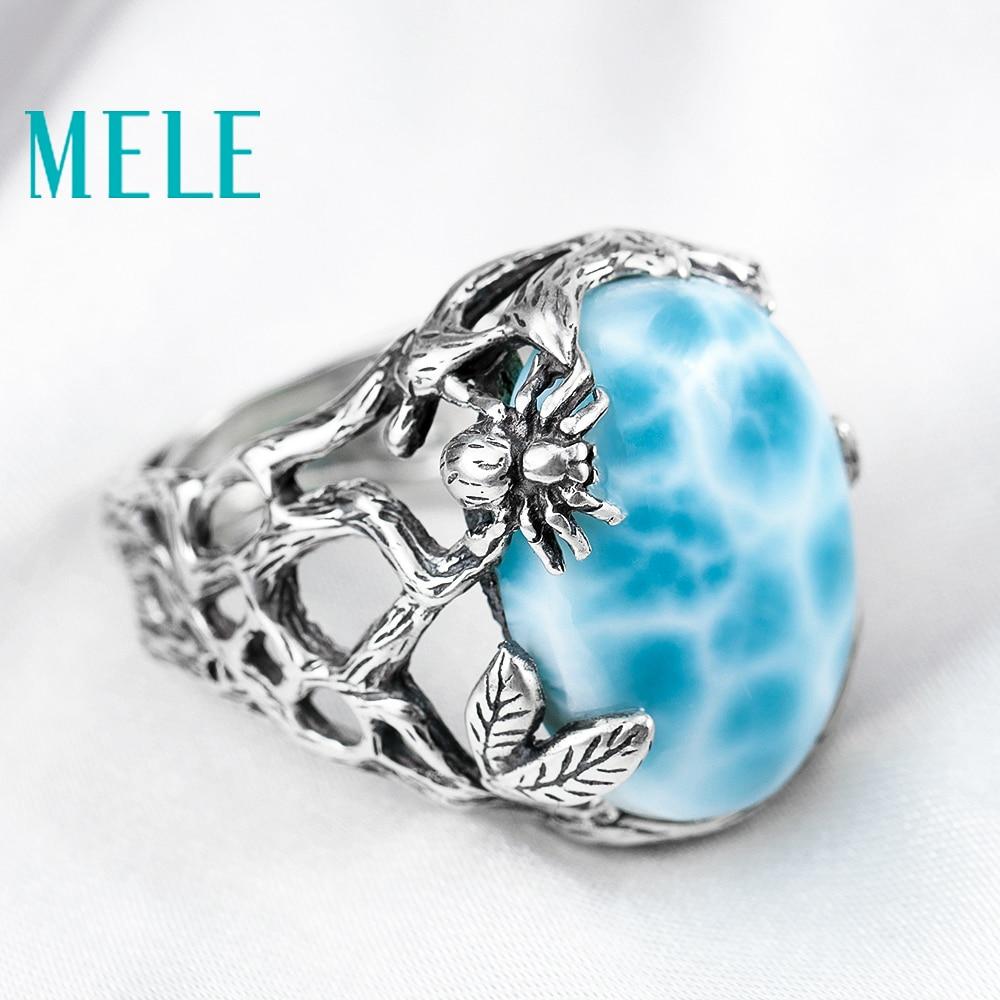 Anillo de plata larimar Natural, ovalado de 15mm * 20mm, color azul océano, estilo bosque, joyería de moda para mujeres y hombres-in Anillos from Joyería y accesorios    2