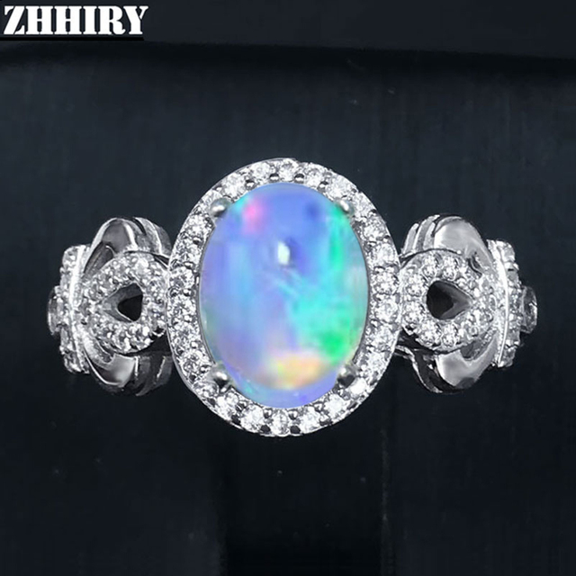 ZHHIRY Genuine Natural Fire Opal Ring Solid 925 Sterling Silver For Women Colour