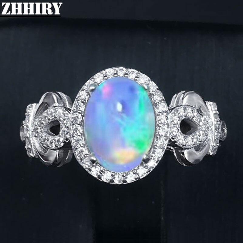 Zhhiry véritable bague opale de feu naturel solide 925 en argent Sterling pour les femmes couleur pierre gemme anneaux bijoux fins