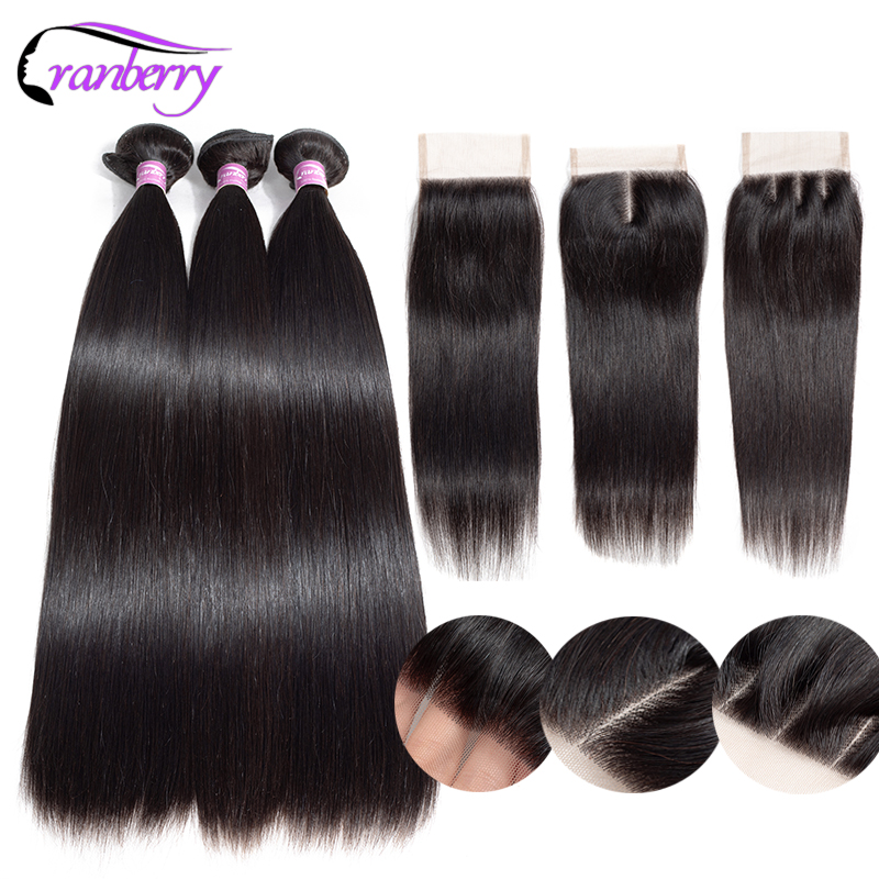 CRANBERRY Human Hair Straight Hair Bundles With Closure 4 4 Swiss Lace Closure With Bundles Malaysian
