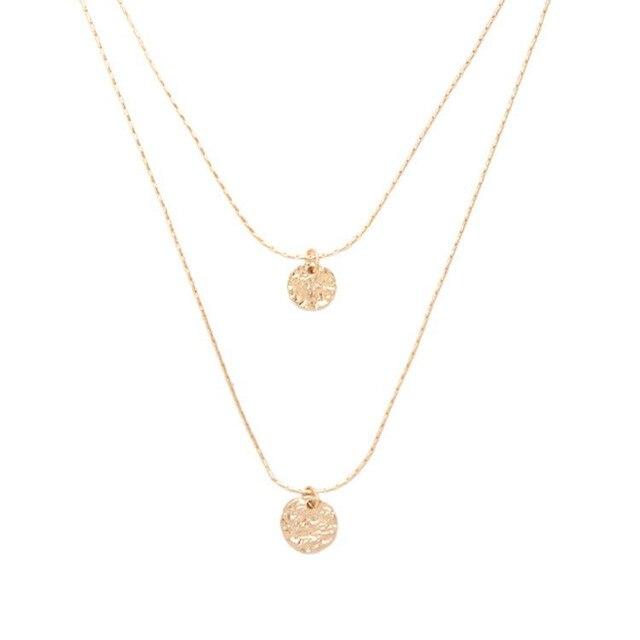 Runde Münze Anhänger Halsketten Doppel Kette Frauen Halskette Gold