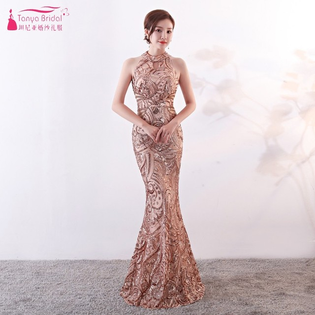 b3fb107f Evening Dresses Long High Neck Sequined Formal Evening Gowns Contrast Color  Mermaid Special Occasion Dress DQG487