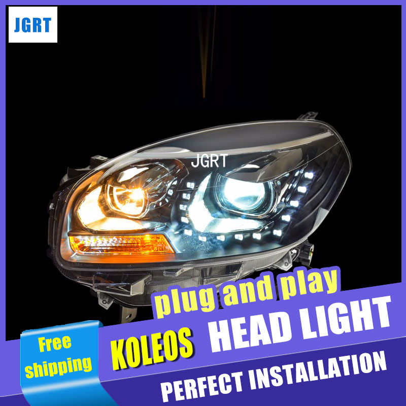 Car Styling for Renault Koleos Headlight assembly Koleos LED Headlight DRL Lens Double Beam H7 with hid kit 2 pcs. hireno headlamp for 2016 hyundai elantra headlight assembly led drl angel lens double beam hid xenon 2pcs