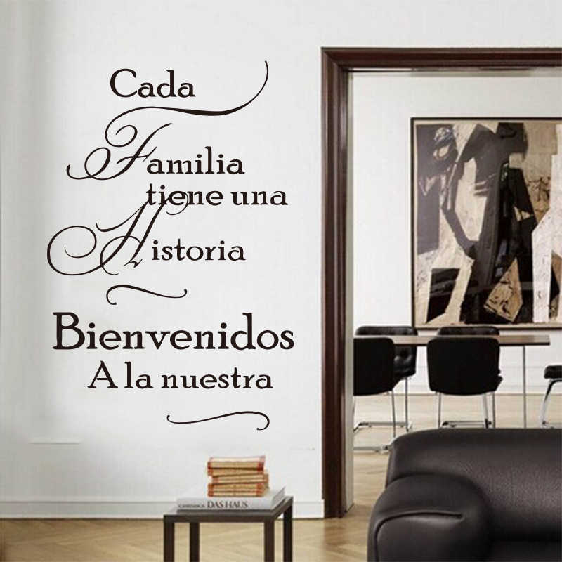 Spanish family quotes stickers for every family have a story vinyl wall stickers mural poster home decor house decoration SZ-061