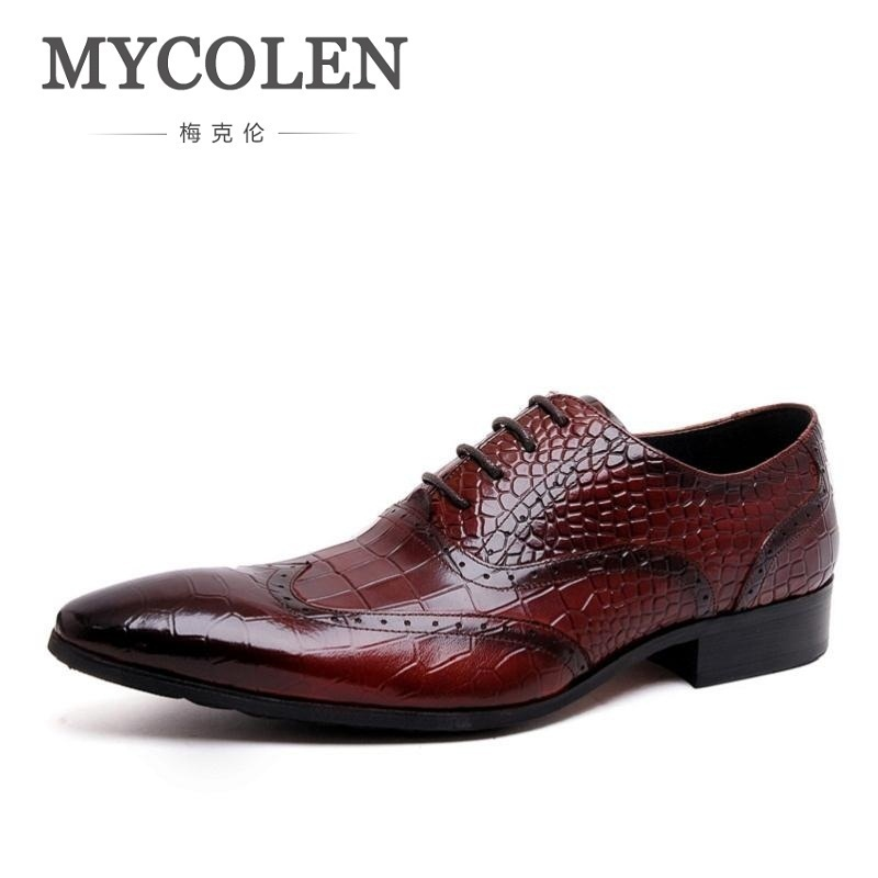 MYCOLEN 2018 Oxford Shoes Men Genuine Leather Men Shoes For Wedding Dress Leather Shoes Men Oxfords Flats Chaussure Cuir Homme dekesen brand men casual shoes lace up 100% cow leather men flats shoes breathable dress oxford shoes for men chaussure homme