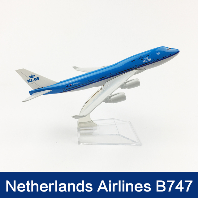 16cm Netherlands Airlines Airplane Model Boeing 747 KLM Aviation Model Holland B747 Airway Aircraft Model Scale Toy Gift 1:400