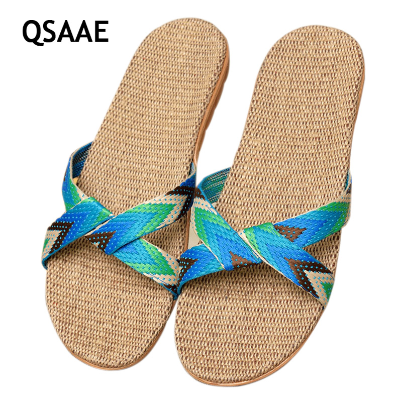 2017 Fashion Flax Home Slippers Indoor Floor Shoes Cross Belt Silent Sweat Slippers For Summer Women Sandals unisex AF433 vanled 2017 new fashion spring summer autumn 5 colors home plush slippers women indoor floor flat shoes free shipping