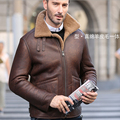 2017 Fashion Men's Pilot Air force Coat Motor Jacket Genuine Real Sheepskin Leather 100% Natural Wool Lined Brown XXXXL 3XL 4XL