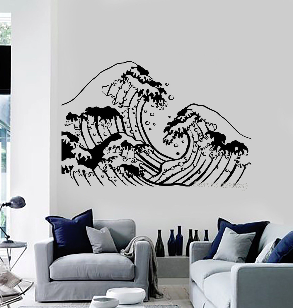 3m Pvc Waterproof Home Decor Wall Stickers Vertical: Aliexpress.com : Buy Ocean Wave Sea Marine Vinyl Wall