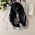 [Peacesky] 2016 Moda bandana Scarve Luxo Mulher Marca 100% Lenço De Seda Com Cópia Da Flor Mulheres Impressão Xale hijab FZC-6806