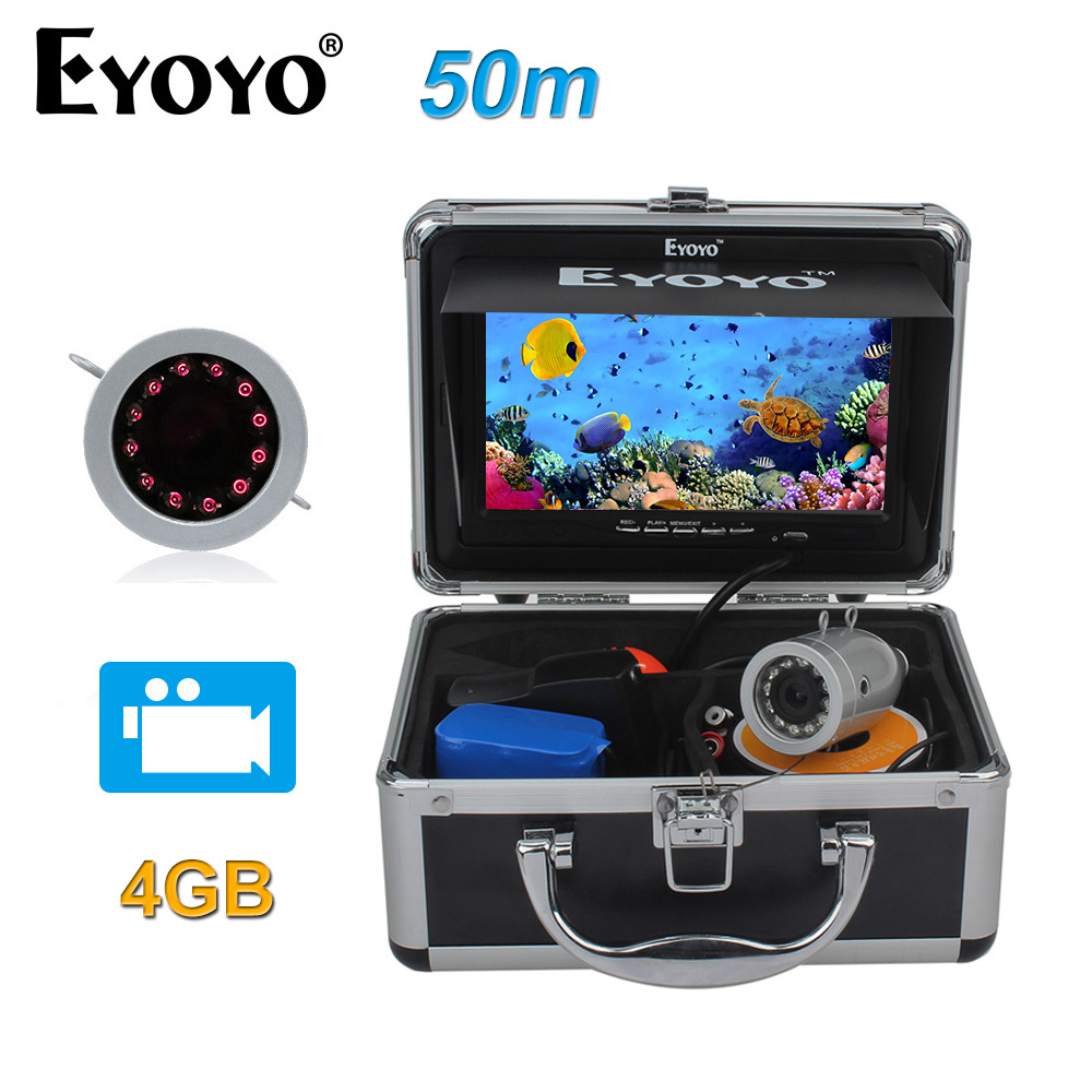 Eyoyo Original 50m Full Silver Fish Finder HD 1000TVL Underwater Fishing Camera Video Recording DVR Infrared LED Sunshield цена