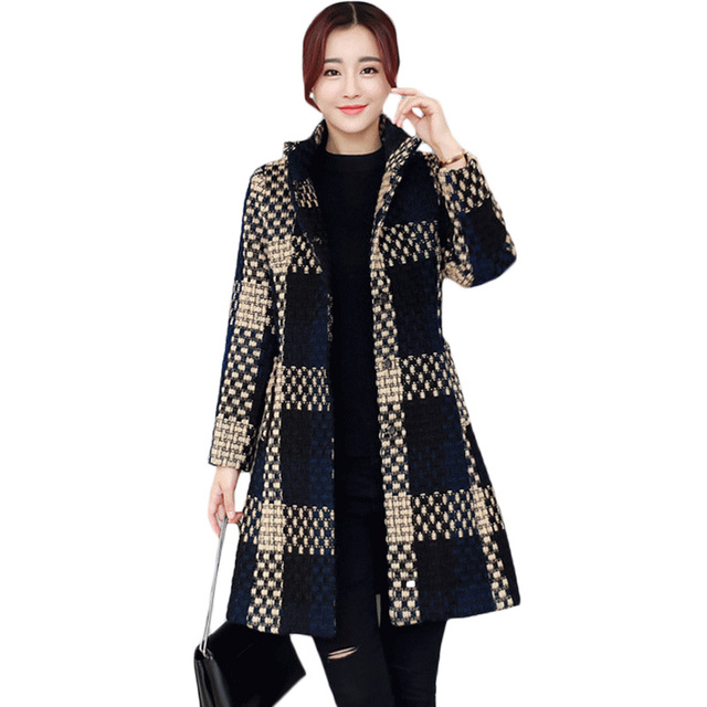 102c59a7f0f Tweed Jacket Coat 2017 Winter Women s Plus Size Woolen Cashmere Coat Medium  Long Button Elegant Navy Plaid Jacket Big Size XH772