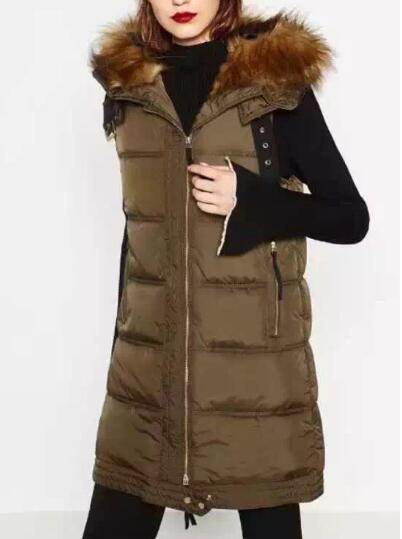 Woman 2016 New Dark Khaki With Faux fur hooded Vest Below the hip length Quilted Waistcoat Sleeveless Front Zippers pockets
