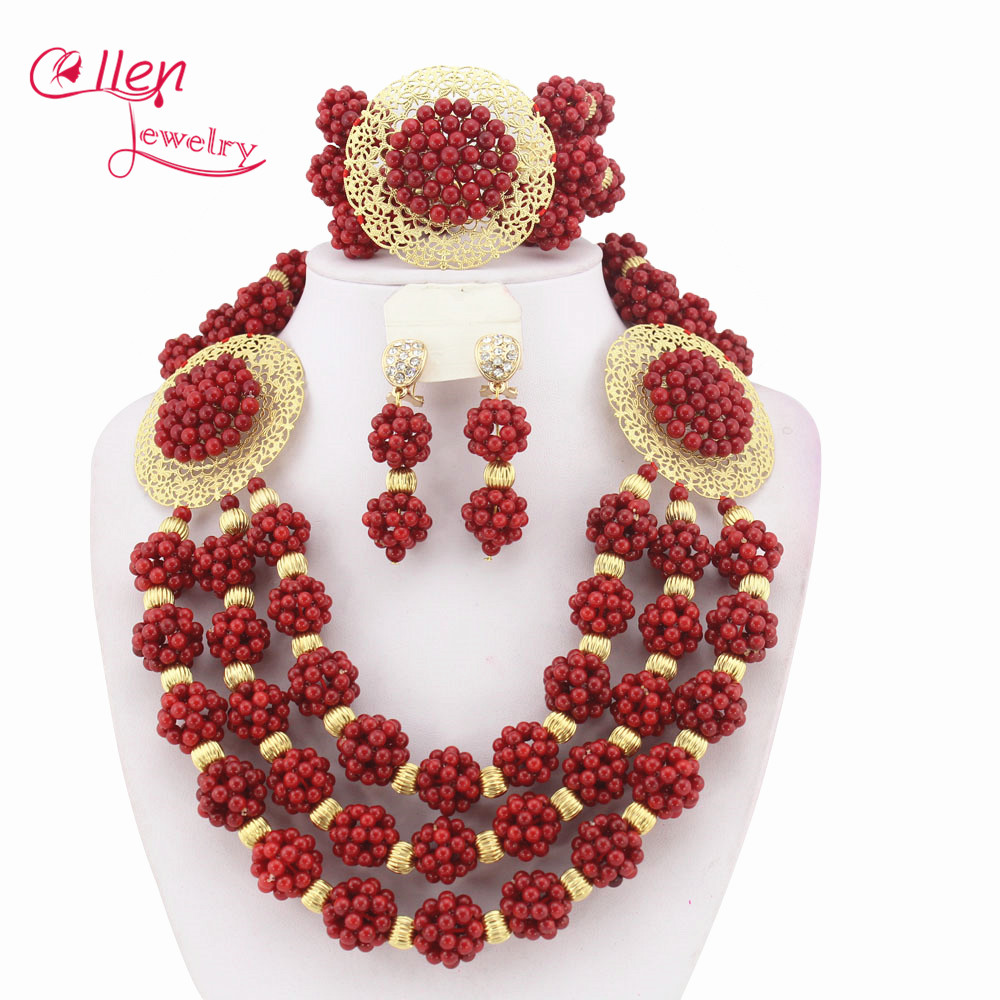 African beads Jewelry Set Coral Beaded Necklace Set Nigerian Wedding Beads Jewelry Set   W5911
