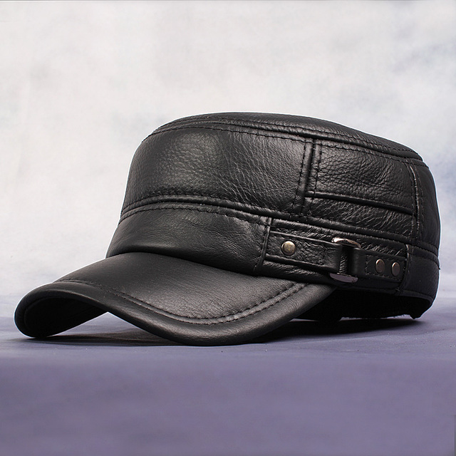 HL064 Genuine Leather Flat Peak Baseball Cap Hip Hop Hats men's caps winter warm