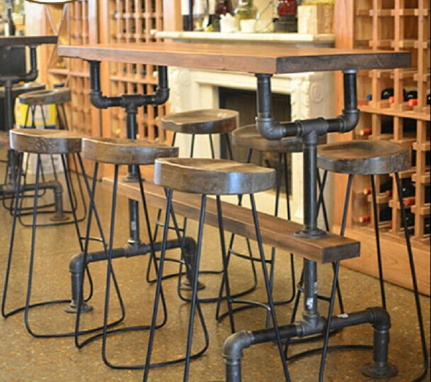 Bar tafels ijzer hout bar en stoelen bureau woonkamer kruk drankjes thee shop cafe hoge tafel - Glazen tafel gesmeed ijzer en stoelen ...