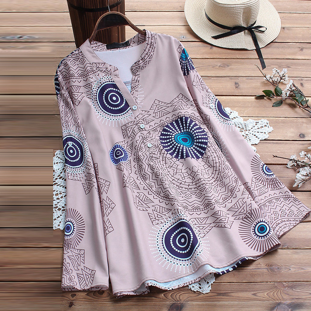 Plue Size Chinese Style Womens Vintage Print V-neck Button Long Sleeve Blouse Top Shirt Button-up Tops Blusa Feminina New Blouses & Shirts