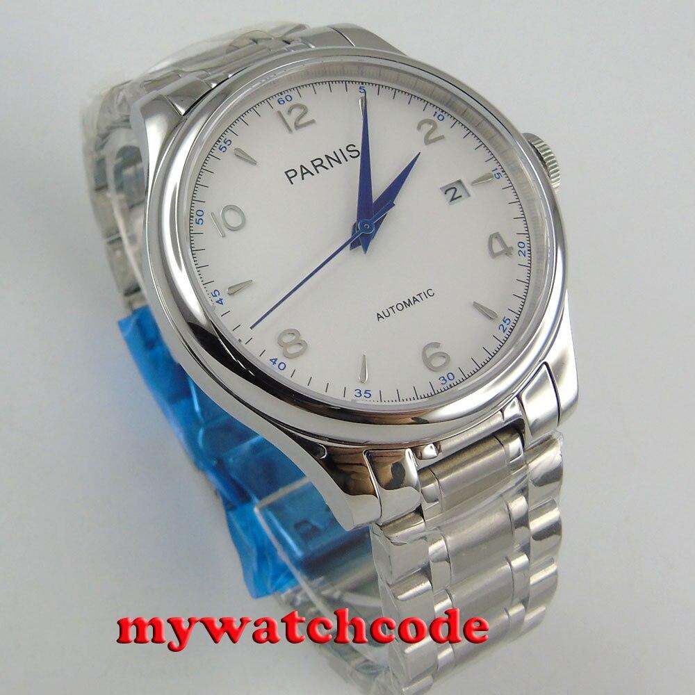 38mm Parnis blanco fecha zafiro cristal miyota automático hombre reloj P723-in Relojes deportivos from Relojes de pulsera    3