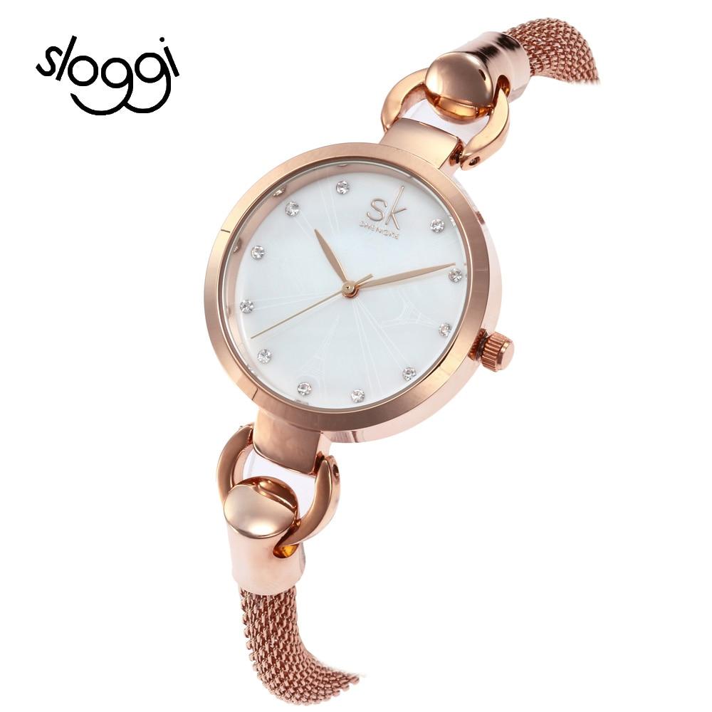 Sloggi Personality luxurious Japan movement Casual Bracelet Watches Quartz Dress Women Shell dial Watch Wristwatch reloj mujer