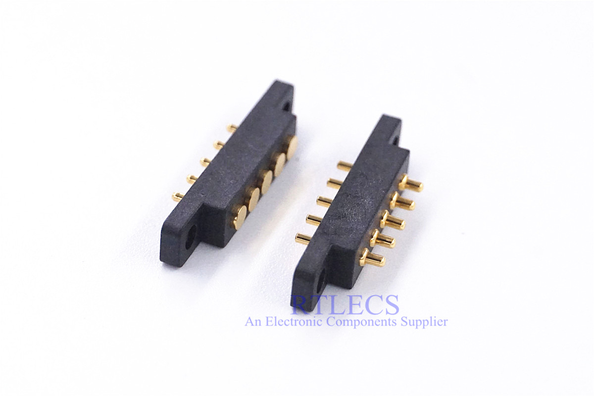 2 Pcs Female Male Spring Loaded Connector Pogo Pin 5 Pin 2.54 Mm Pitch Through Holes With Flange Panel Mount Single Row Strip
