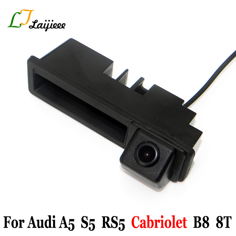 Auto Backup Camera For Audi A5 S5 RS5 Cabriolet B8 8T 2009~2017 With Power Relay Car Rear Trunk Handle Reversing Rearview Camera