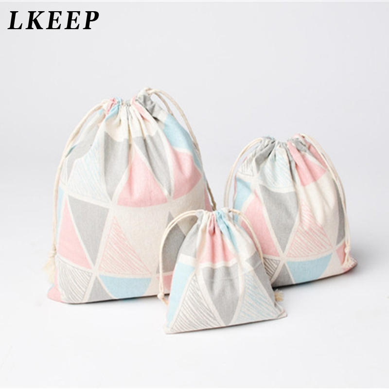 Cotton Linen Small Cosmetic Bag Storage Package Bag Drawstring Bag Small Coin Purse Travel Women Small Cloth Bag Gift Pouch