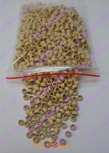 1000pcs pack Blonde silicone micro nano bead with silicone line for Nano Hair Extensions tool kit