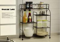 European pastoral, wrought iron shelf in the kitchen. Caster multilayer shelf. Receive bathroom articles for use.