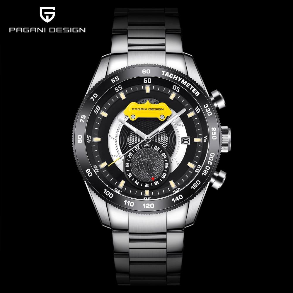 2018 nowe Top marka PAGANI projekt chronografu zegarki sportowe męskie zegarki ze stali nierdzewnej wodoodporny zegarek kwarcowy zegary Relogio Masculino w Zegarki kwarcowe od Zegarki na  Grupa 2