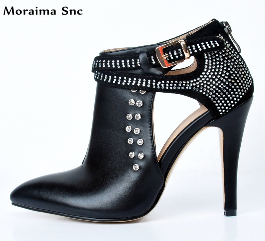 Moraima Snc high quality sexy women pumps pointed toe Crystal Decoration patchwork Ankle strap stiletto heels casual shoes new arrival blue and white porcelain pattern stiletto heels pretty women glittering crystal pointed toe pumps high quality shoes