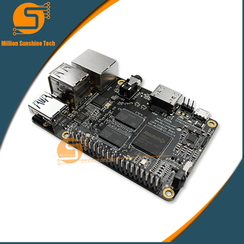 ROC RK3328 CC Support Gigabit Ethernet, USB 3.0 , 4K Display & Ubuntu & Android ARM Cortex-A53 ARM Development Board