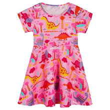 2019 Girls Clothes Childrens Dinosaur Print Dress New Milk Silk Beautiful Princess